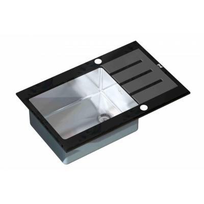 Кухонная мойка ZorG GL 7851 black со стеклом