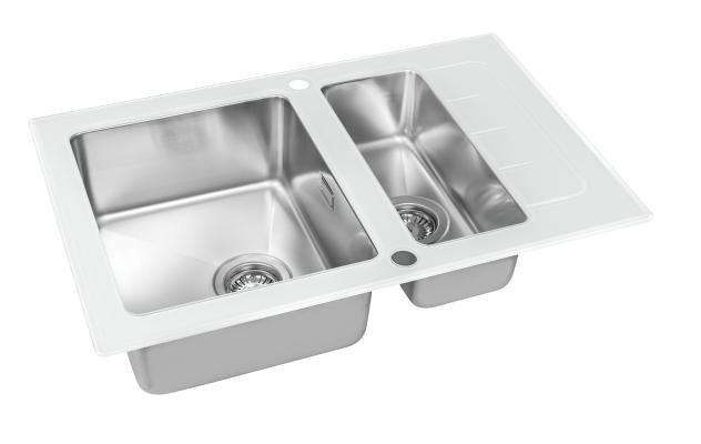 Кухонная мойка ZorG GS 7850-2 white со стеклом