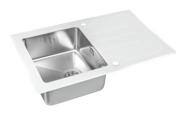 Кухонная мойка ZorG GS 7850 white со стеклом