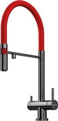 Смеситель Omoikiri Kanto-PVD-GM латунь/вороненая сталь (красный) (4994013)