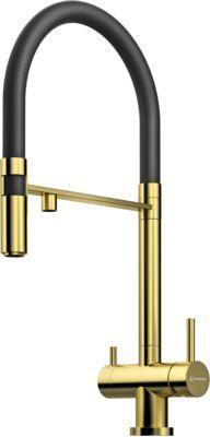 Смеситель Omoikiri Kanto-PVD-LG латунь/светлое золото (черный) (4994014)